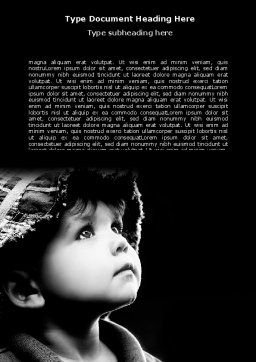 Child In Black And White Word Template, Cover Page, 06817, People — PoweredTemplate.com