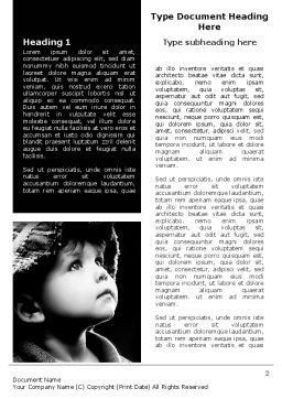 Child In Black And White Word Template, First Inner Page, 06817, People — PoweredTemplate.com