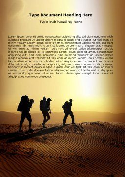 Backpacking In Sands Word Template, Cover Page, 06820, Sports — PoweredTemplate.com