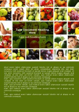 Nutrition Word Template, Cover Page, 06856, Food & Beverage — PoweredTemplate.com
