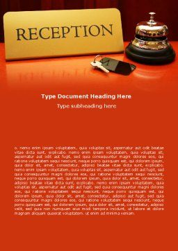 Hotel Reception Word Template, Cover Page, 06866, Careers/Industry — PoweredTemplate.com