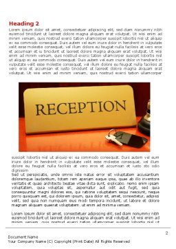 Hotel Reception Word Template, First Inner Page, 06866, Careers/Industry — PoweredTemplate.com