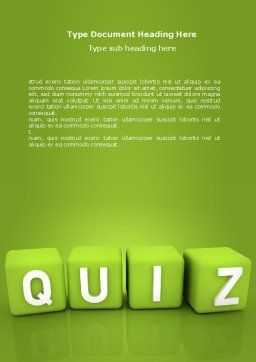 Quiz Word Template Cover Page