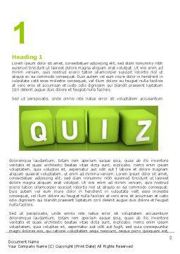 Quiz Word Template First Inner Page