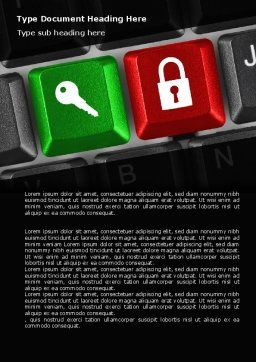 Lock And Key On The Keyboard Word Template, Cover Page, 06905, Business Concepts — PoweredTemplate.com