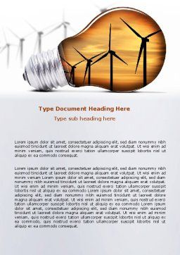 Energy Saving Technologies Word Template Cover Page