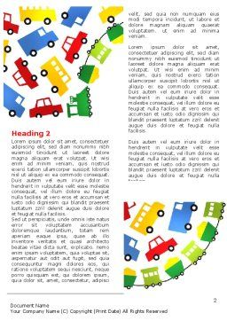 Childish Car Theme Word Template First Inner Page