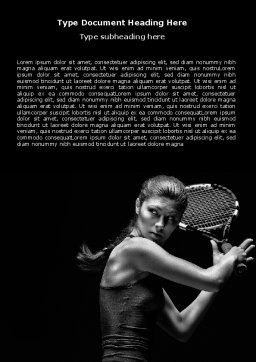 Tennis Player Word Template, Cover Page, 06921, Sports — PoweredTemplate.com