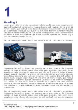 Trailer Trucks Word Template, First Inner Page, 06923, Cars/Transportation — PoweredTemplate.com