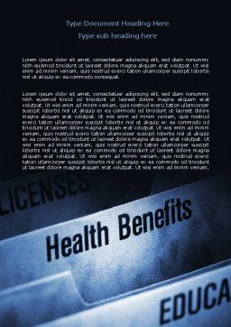 Health Benefits Word Template, Cover Page, 06929, Education & Training — PoweredTemplate.com
