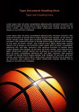 Basketball Ball on NBA Colors Floor Word Template, Cover Page, 06934, Sports — PoweredTemplate.com