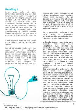 Electric Light Bulb Word Template, First Inner Page, 06935, Consulting — PoweredTemplate.com