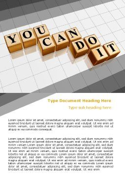 You Can Do It Word Template, Cover Page, 06938, Education & Training — PoweredTemplate.com