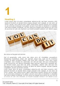 You Can Do It Word Template, First Inner Page, 06938, Education & Training — PoweredTemplate.com