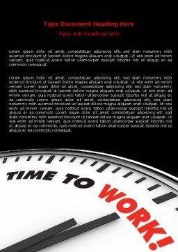 Time to Work Word Template, Cover Page, 06949, Business Concepts — PoweredTemplate.com