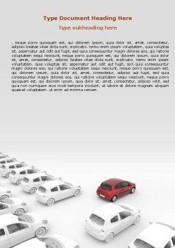 Red Car Word Template, Cover Page, 06951, Cars/Transportation — PoweredTemplate.com