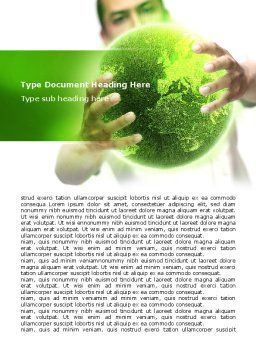 Green World in Human Hands Word Template, Cover Page, 06955, Nature & Environment — PoweredTemplate.com