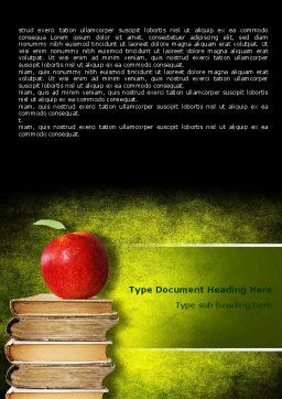 Apple and Books Word Template, Cover Page, 06997, Education & Training — PoweredTemplate.com