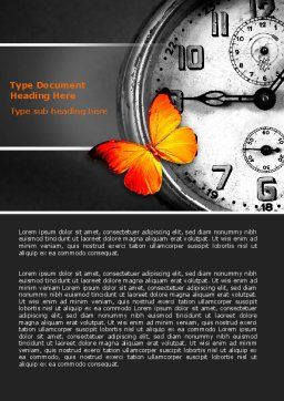 Butterfly Sitting On The Clock Word Template, Cover Page, 07007, Business Concepts — PoweredTemplate.com