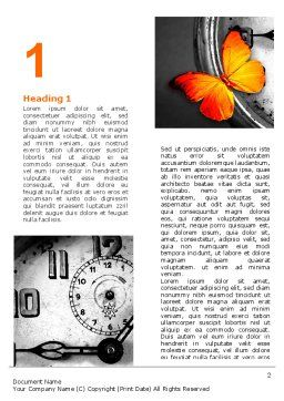 Butterfly Sitting On The Clock Word Template, First Inner Page, 07007, Business Concepts — PoweredTemplate.com