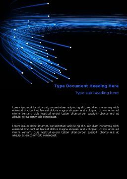 Blue Optic Fibers Word Template, Cover Page, 07052, Technology, Science & Computers — PoweredTemplate.com