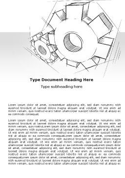 Functioning Gears Word Template, Cover Page, 07054, Utilities/Industrial — PoweredTemplate.com