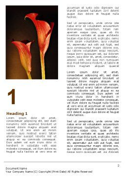 Red Calla Word Template First Inner Page