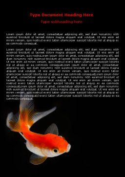 Goldfish On The Black Background Word Template, Cover Page, 07074, Agriculture and Animals — PoweredTemplate.com