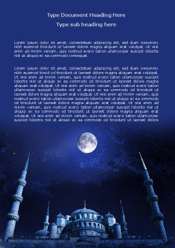 Mosque In Moonlight Word Template Cover Page
