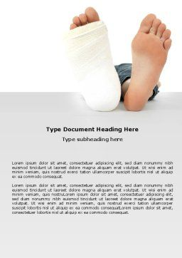 Foot Plaster Word Template, Cover Page, 07080, Medical — PoweredTemplate.com