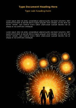 Beautiful Fireworks Word Template, Cover Page, 07099, Holiday/Special Occasion — PoweredTemplate.com