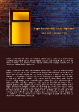 Yellow Window On The Brick Wall Word Template, Cover Page, 07152, Consulting — PoweredTemplate.com