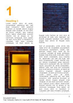 Yellow Window On The Brick Wall Word Template, First Inner Page, 07152, Consulting — PoweredTemplate.com