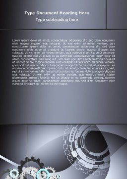 Gray Gears Word Template, Cover Page, 07175, Technology, Science & Computers — PoweredTemplate.com