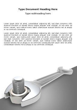 Wrench Word Template, Cover Page, 07182, Utilities/Industrial — PoweredTemplate.com