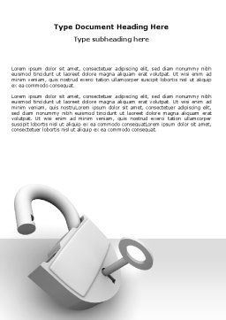 Unlocked Padlock Word Template, Cover Page, 07266, Consulting — PoweredTemplate.com