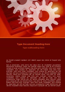 Red Gears Word Template, Cover Page, 07275, Consulting — PoweredTemplate.com