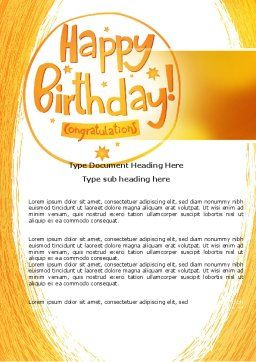 Happy Birthday Card Word Template, Cover Page, 07278, Holiday/Special Occasion — PoweredTemplate.com