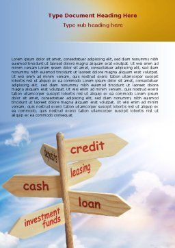 Credits and Loans Word Template Cover Page