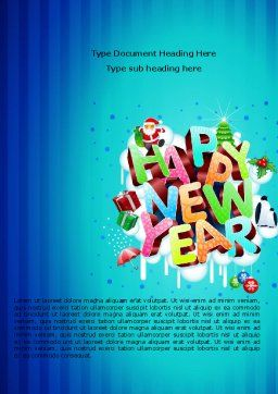 Free New Year Card Word Template, Cover Page, 07282, Holiday/Special Occasion — PoweredTemplate.com