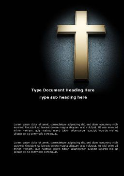 Cross In The Dark Word Template, Cover Page, 07291, Religious/Spiritual — PoweredTemplate.com