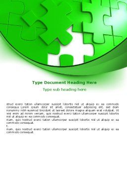 Green Puzzle Word Template, Cover Page, 07306, Consulting — PoweredTemplate.com