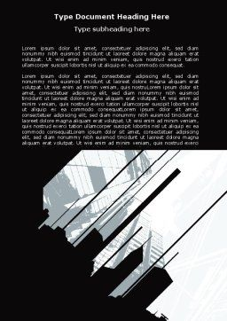 Abstract Skyscraper Theme Word Template, Cover Page, 07344, Construction — PoweredTemplate.com