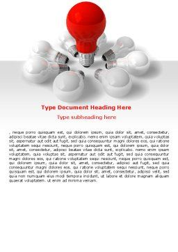 Red Bulb Word Template, Cover Page, 07347, Consulting — PoweredTemplate.com