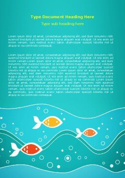 Fish Theme Word Template, Cover Page, 07349, Education & Training — PoweredTemplate.com