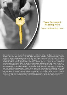 Gold Key Word Template, Cover Page, 07350, Consulting — PoweredTemplate.com