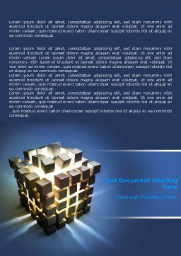 Cube Pieces Concept Word Template, Cover Page, 07391, 3D — PoweredTemplate.com