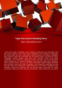 3D Red Cubes Word Template, Cover Page, 07394, 3D — PoweredTemplate.com