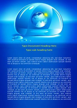 Blue Water Drop Word Template Cover Page