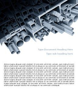 Steel Pipes Word Template, Cover Page, 07415, Utilities/Industrial — PoweredTemplate.com
